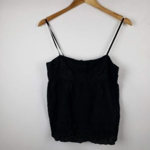 Juicy Couture Eyelet Babydoll Top Size Small Black